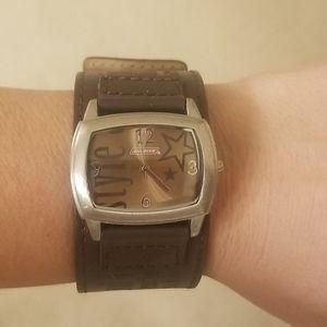 Dickies dark brown leather watch